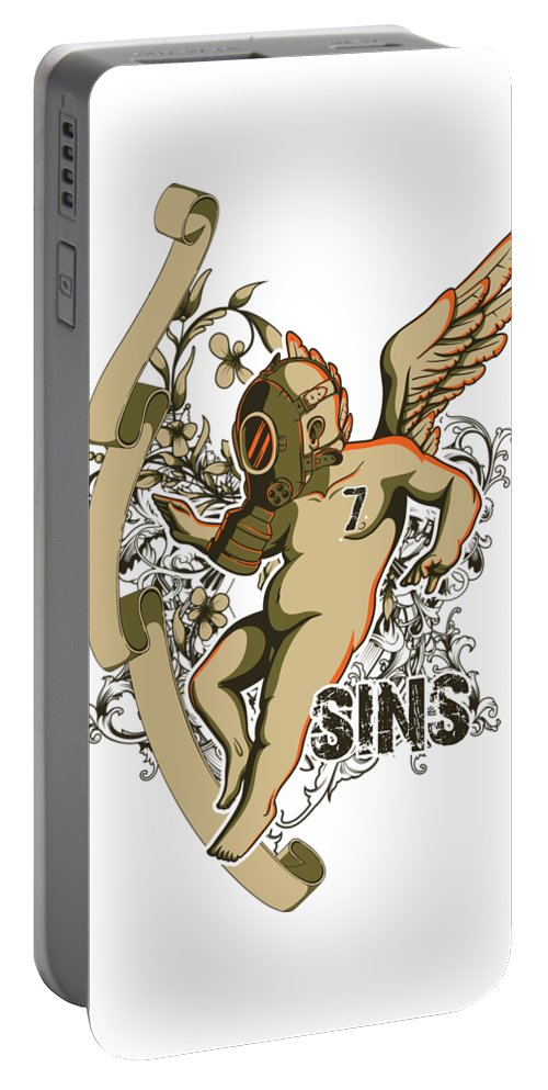 Religion Portable Battery Charger featuring the digital art Angel With Gas Mask by Passion Loft