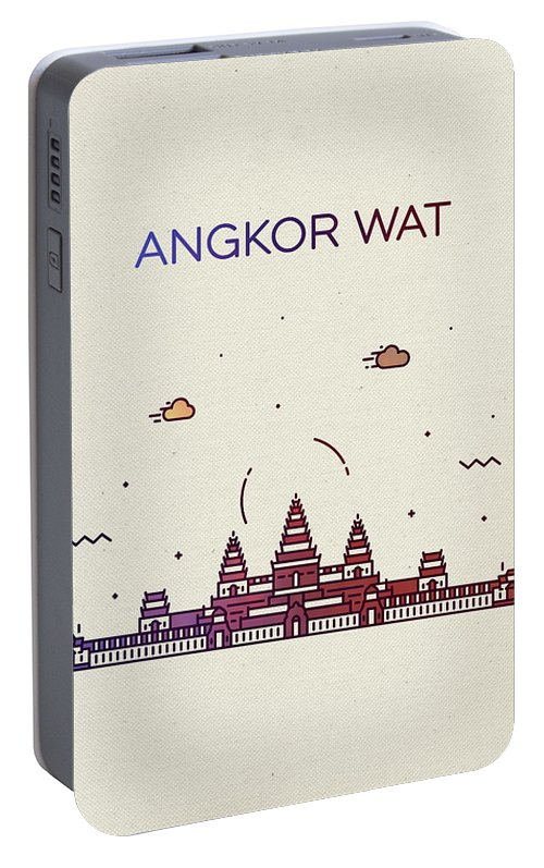 Angkor Wat Portable Battery Charger featuring the mixed media Angkor Wat City Skyline Whimsical Fun Tall Bright Series by Design Turnpike
