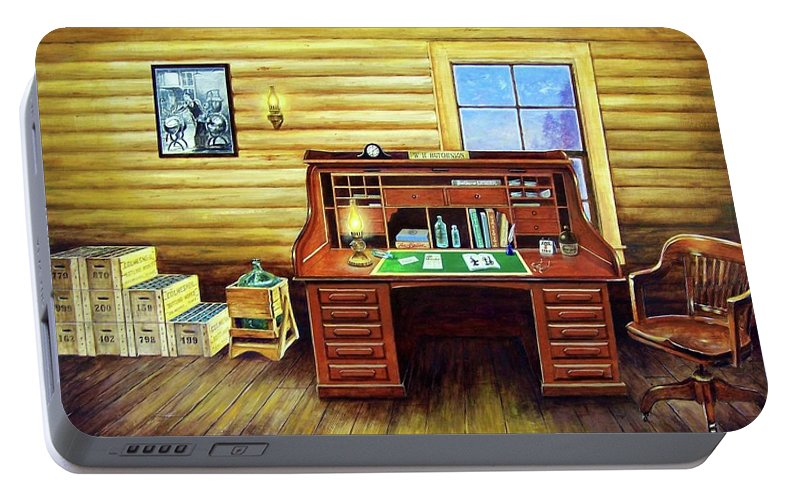 Roll Top Desk Portable Battery Charger featuring the painting Another Day In The Books by Randy Welborn