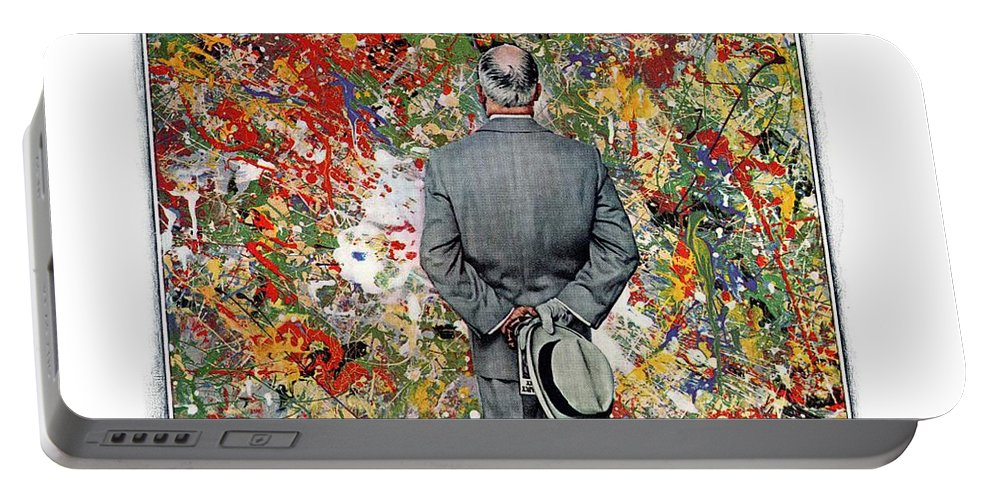Art Portable Battery Charger featuring the drawing Art Connoisseur by Norman Rockwell