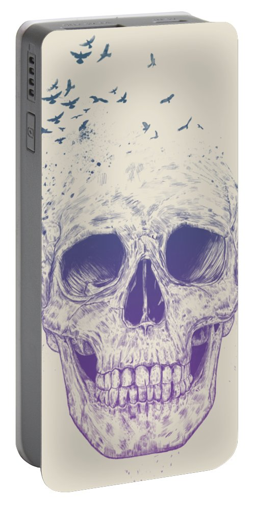Skull Portable Battery Charger featuring the mixed media Let them fly by Balazs Solti