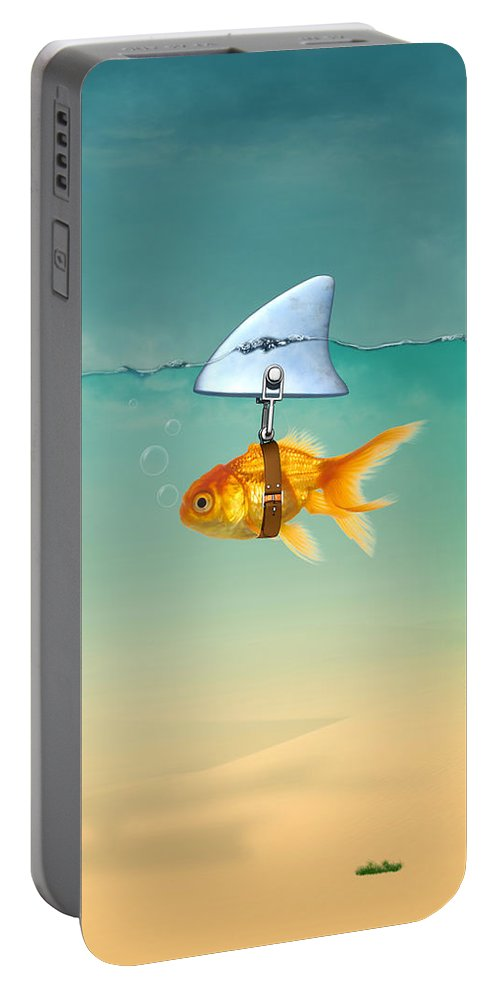 Gold Fish Portable Battery Charger featuring the digital art Gold Fish by Mark Ashkenazi