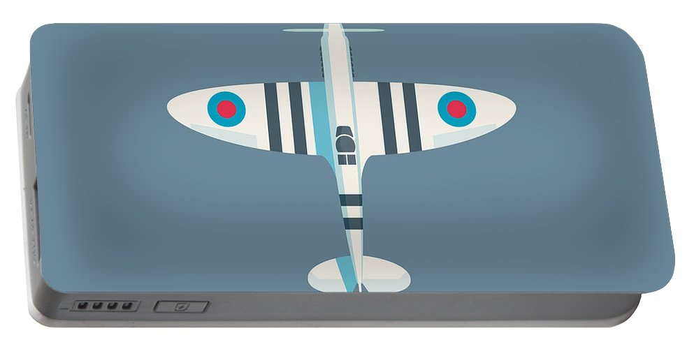 Spitfire Portable Battery Charger featuring the digital art Supermarine Spitfire Fighter Aircraft - Stripe Slate by Ivan Krpan