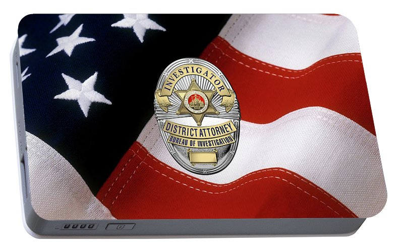 Los Angeles County District Attorney - Investigator Badge Over American  Flag Portable Battery Charger