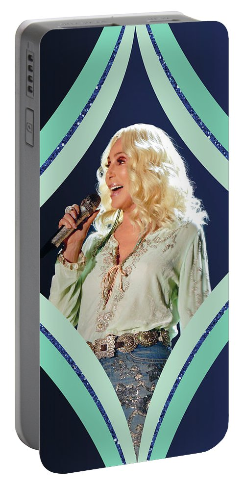 Cher Portable Battery Charger featuring the digital art Cher - Teal Diamond by Cher Style