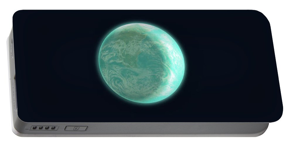 Space Portable Battery Charger featuring the drawing Pale Blue Dot by Eric Fan