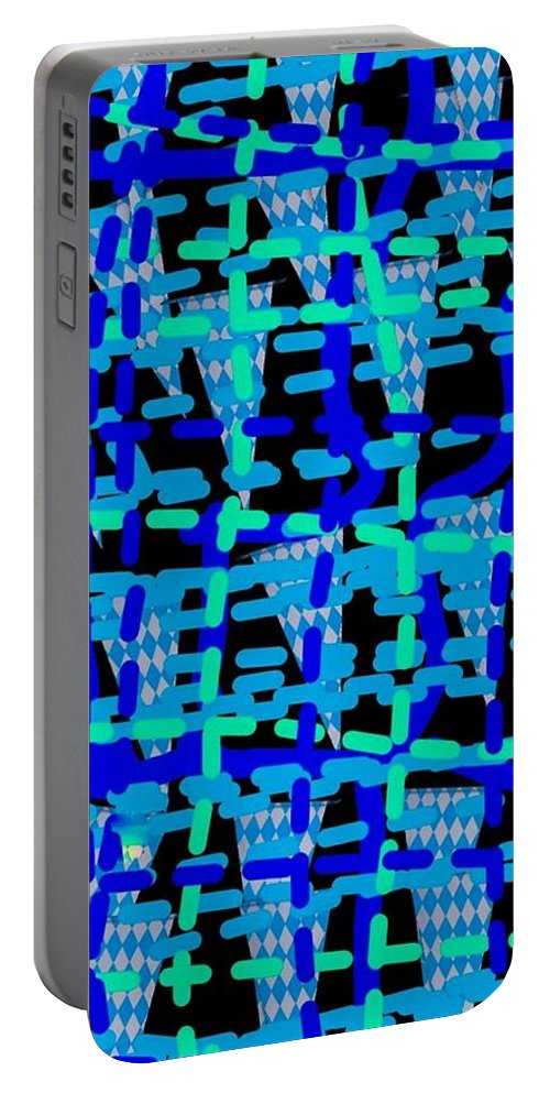 Blue Portable Battery Charger featuring the digital art Blue Vibes 28 by Moylom Art Studio
