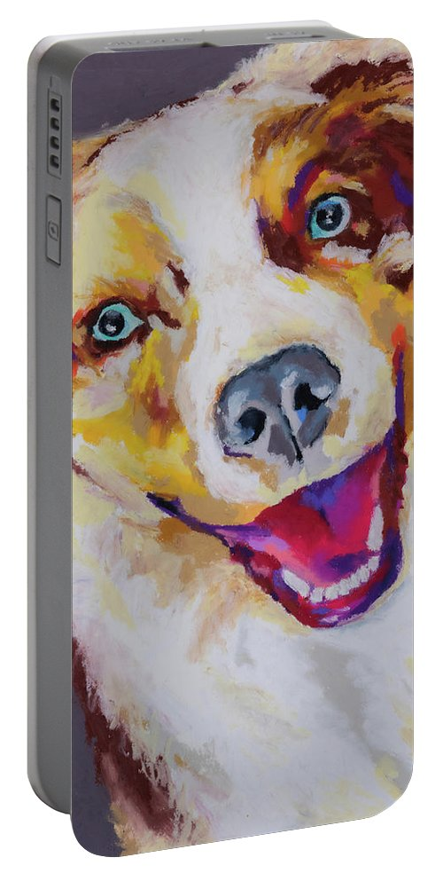 Australian Shepard Portable Battery Charger featuring the painting Aussie by Stephen Anderson