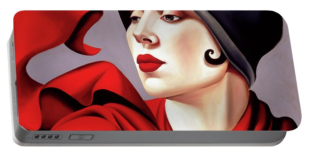 30s Portable Battery Charger featuring the painting Autumn Zephyr by Catherine Abel
