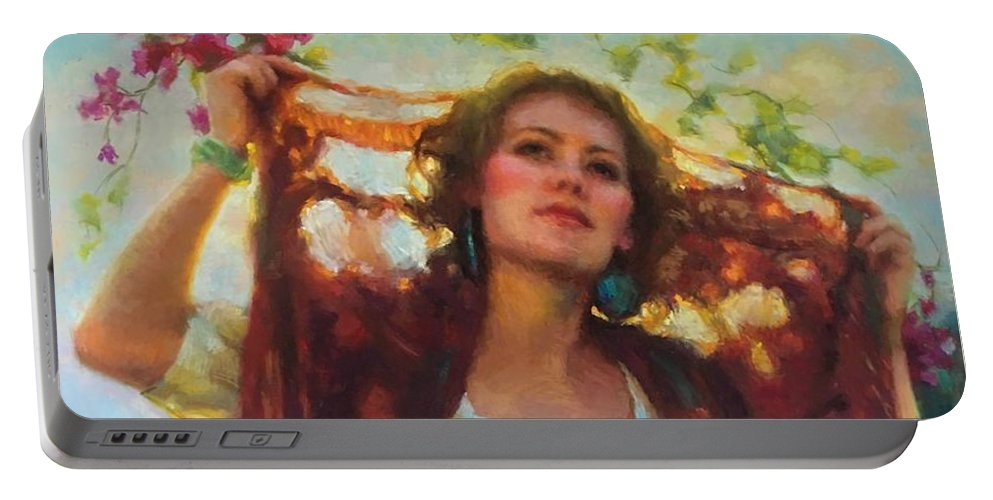 Beautiful Woman Portable Battery Charger featuring the painting Awaken by Jean Hildebrant