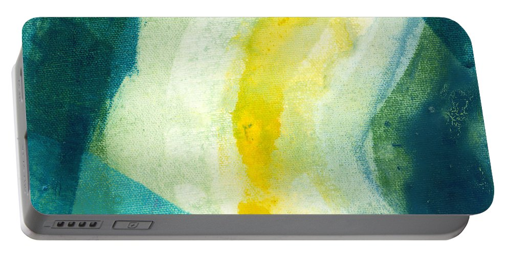 Abstract Portable Battery Charger featuring the painting Back by Claire Desjardins