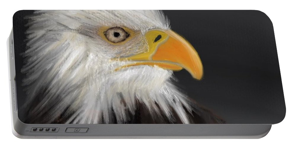 Bald Eagle Portable Battery Charger featuring the pastel Bald Eagle by Fe Jones