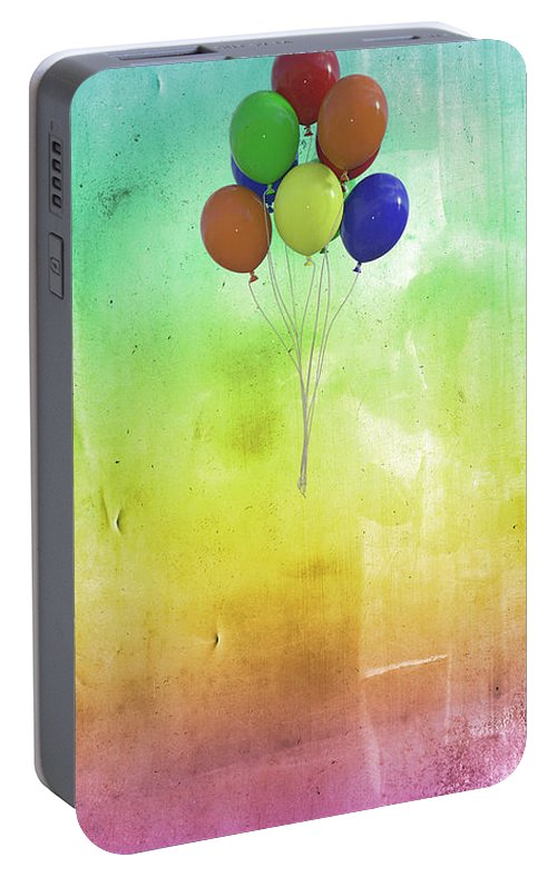 Balloon Portable Battery Charger featuring the digital art Balloons by Betsy Knapp