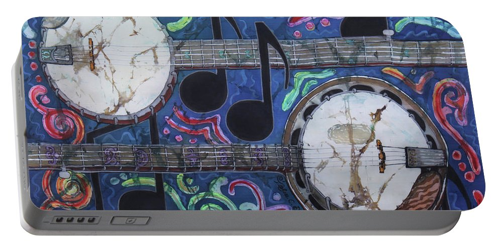 Banjos Portable Battery Charger featuring the painting Banjos by Sue Duda