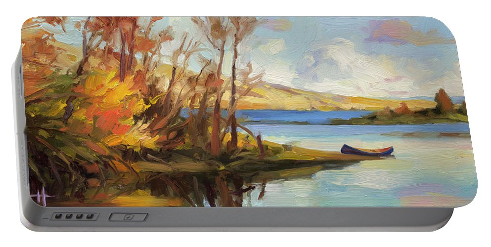 River Portable Battery Charger featuring the painting Banking On The Columbia by Steve Henderson