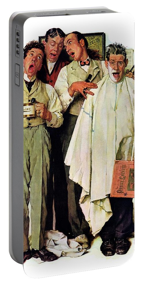 Barbers Portable Battery Charger featuring the drawing Barbershop Quartet by Norman Rockwell