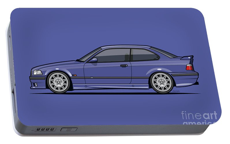 Automotive Art Portable Battery Charger featuring the digital art Bavarian E36 3-series M-drei Coupe Techno Violet by Tom Mayer