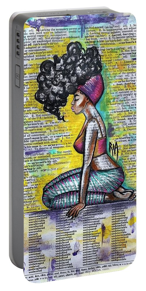 Words Portable Battery Charger featuring the painting Be Strong-Don't let them break you by Artist RiA