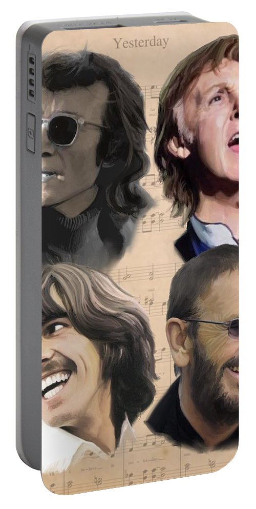 Beatles Portable Battery Charger featuring the painting Beatles Yesterday by Paul Tag