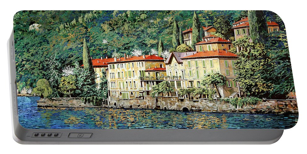 Landscape Portable Battery Charger featuring the painting Bellano on Lake Como by Guido Borelli