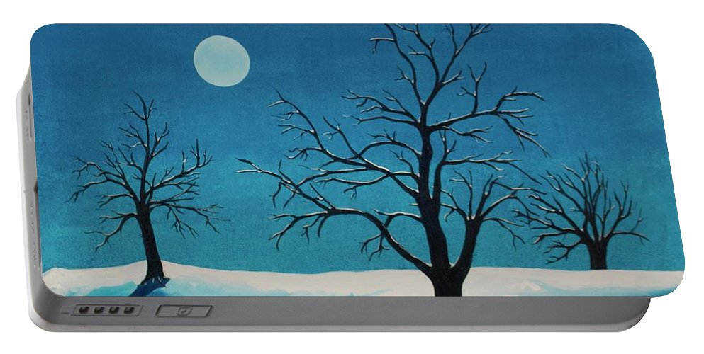 Blue Portable Battery Charger featuring the painting Beyond This Moment by Rollin Kocsis