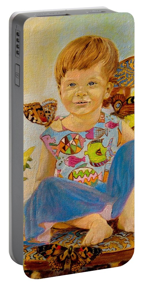 Henryk Portable Battery Charger featuring the painting Bianka And Butterflies by Henryk Gorecki