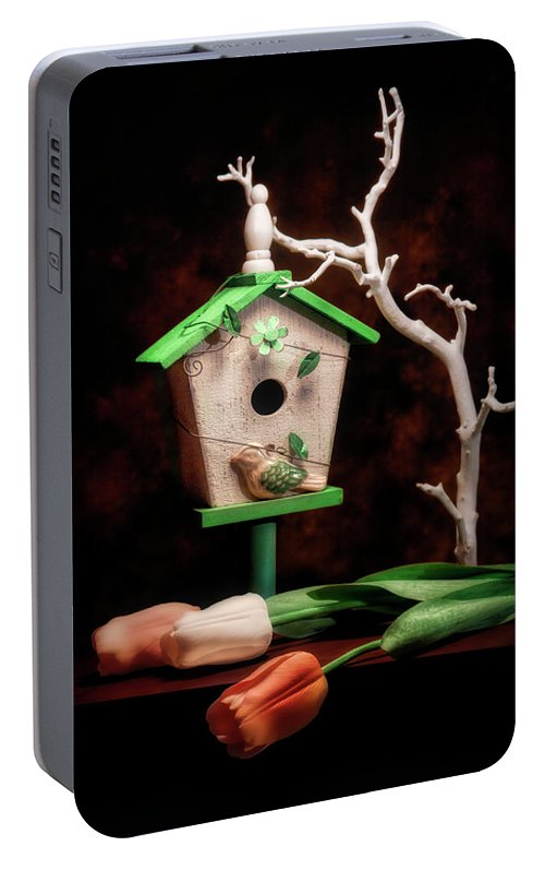 Birdhouse Portable Battery Charger featuring the photograph Birdhouse With Tulips by Tom Mc Nemar