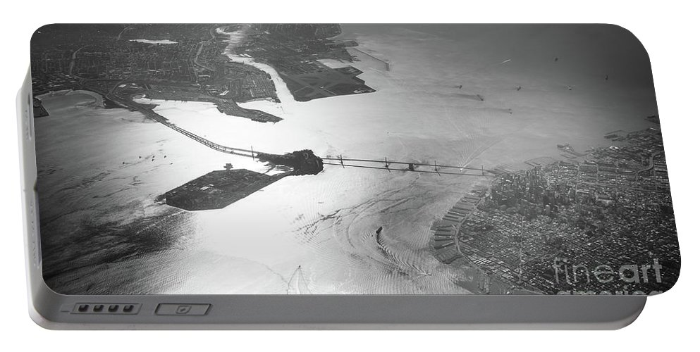 Bridge Portable Battery Charger featuring the photograph Black And White Aerial View Of Downtown San Francisco With Sun R by PorqueNo Studios