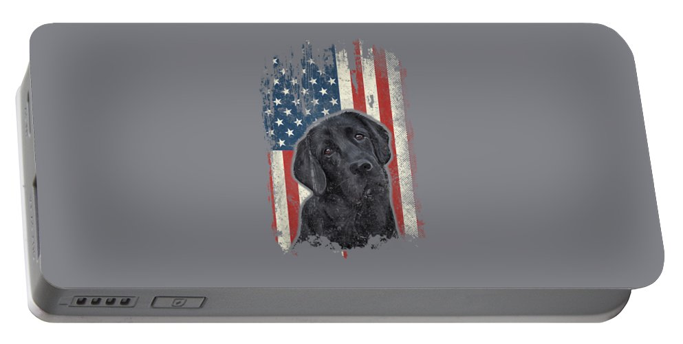 girls' Novelty T-shirts Portable Battery Charger featuring the digital art Black Lab American Flag Shirt Usa Patriotic Dog Lover Gifts T-shirt by Do David