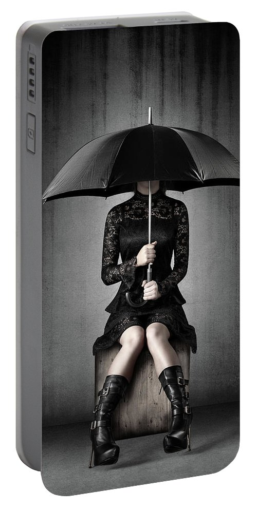 Woman Portable Battery Charger featuring the photograph Black Rain by Johan Swanepoel