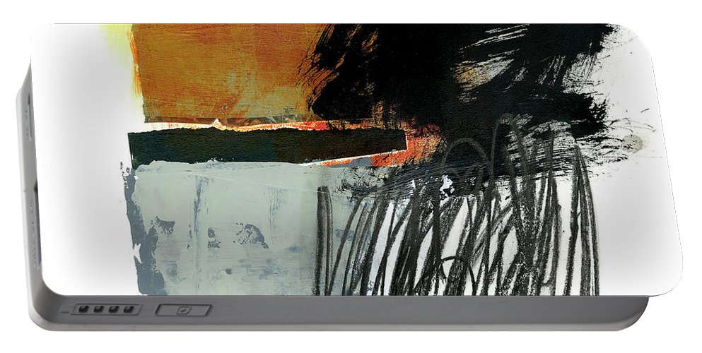 Abstract Art Portable Battery Charger featuring the painting Black Scribble #2 by Jane Davies