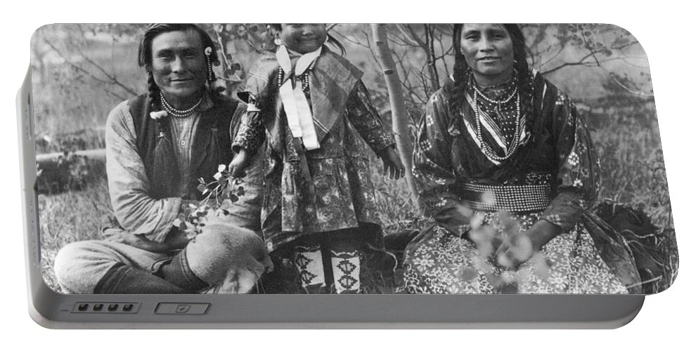 1907 Portable Battery Charger featuring the photograph Blackfoot Family, 1907 by Mary TS Schaffer