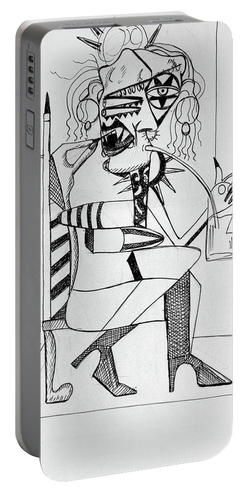 Cubism Portable Battery Charger featuring the drawing Bloody Mary by Anthony Falbo