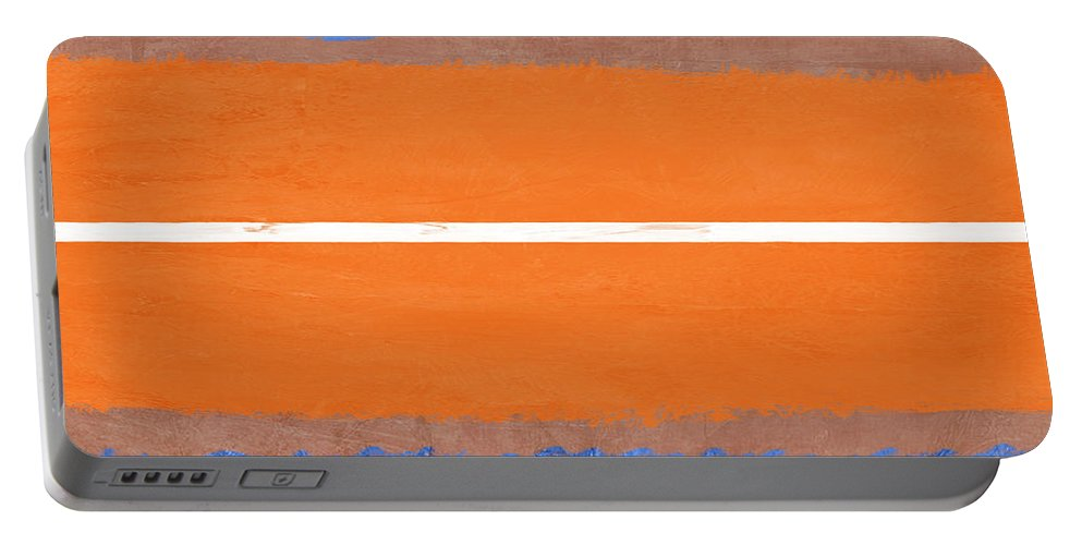Abstract Portable Battery Charger featuring the painting Blue And Orange Abstract Theme Iv by Naxart Studio