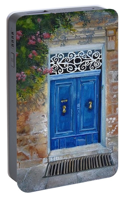 Malta Portable Battery Charger featuring the painting Blue Door Malta by Lisa Cini