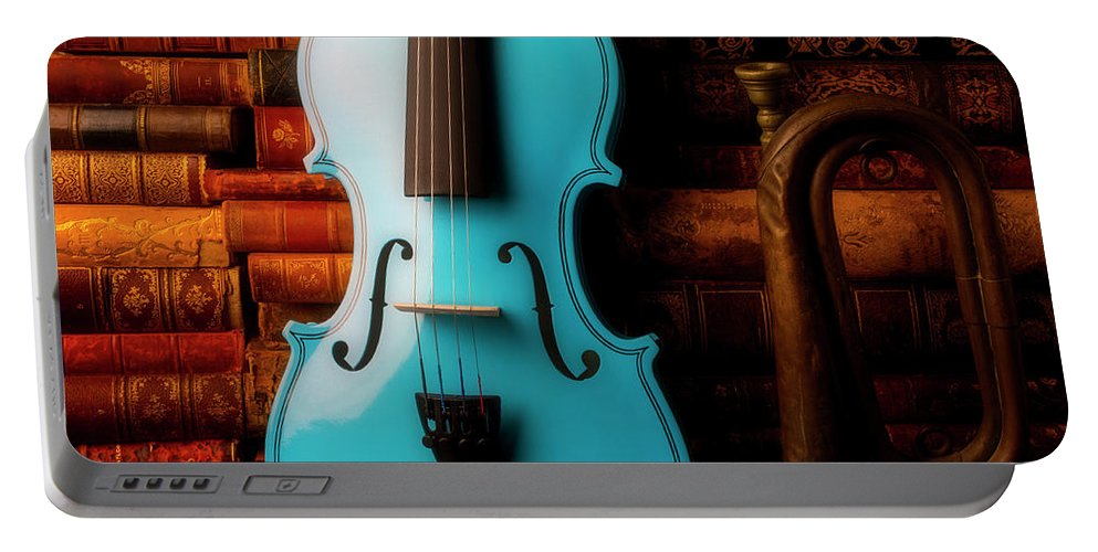 Book Portable Battery Charger featuring the photograph Blue Violin And Old Books by Garry Gay
