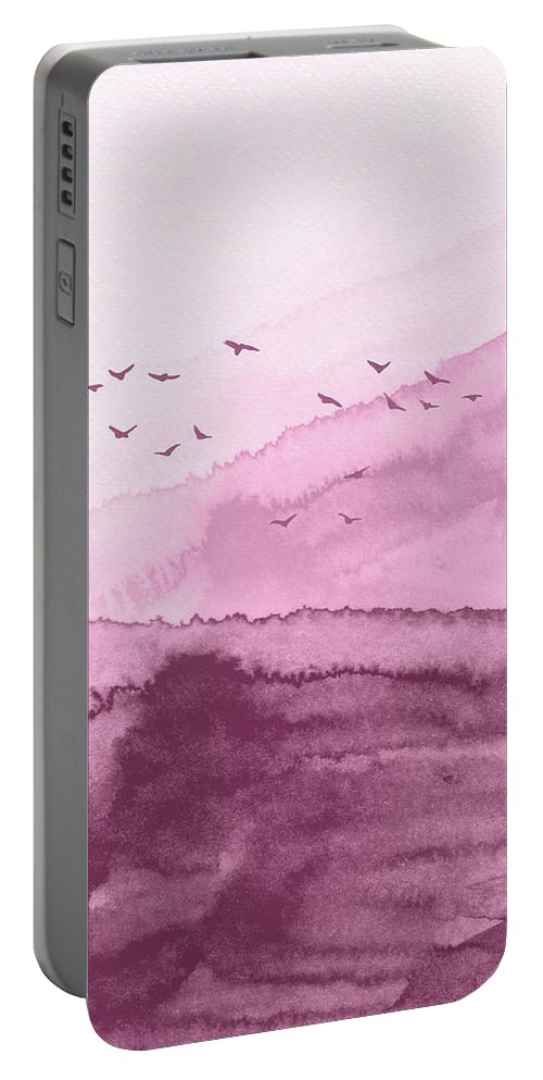 Landscape Portable Battery Charger featuring the painting Blush Pink Landscape Watercolor by Naxart Studio