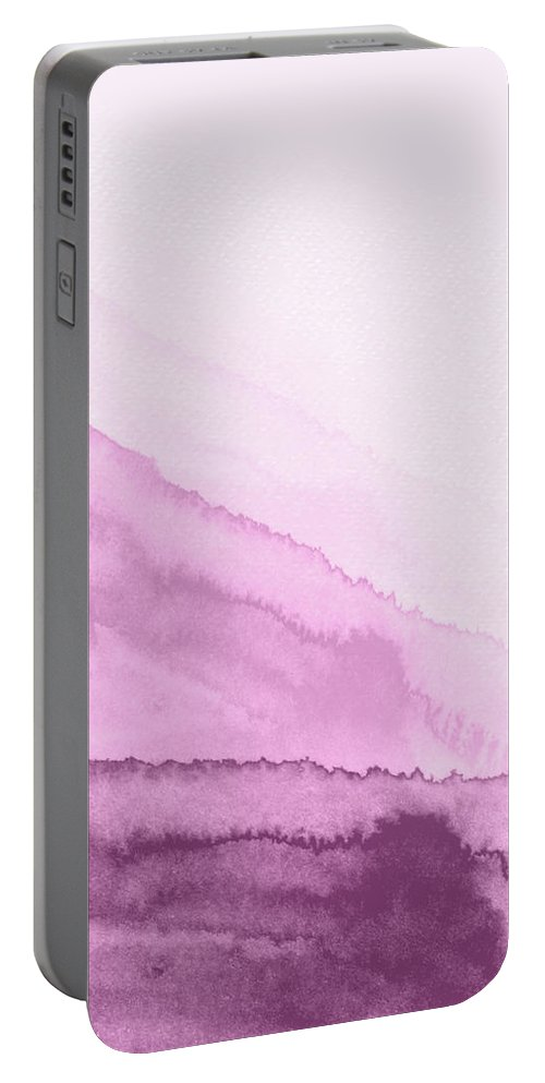 Landscape Portable Battery Charger featuring the painting Blush Pink Mountains Watercolor II by Naxart Studio
