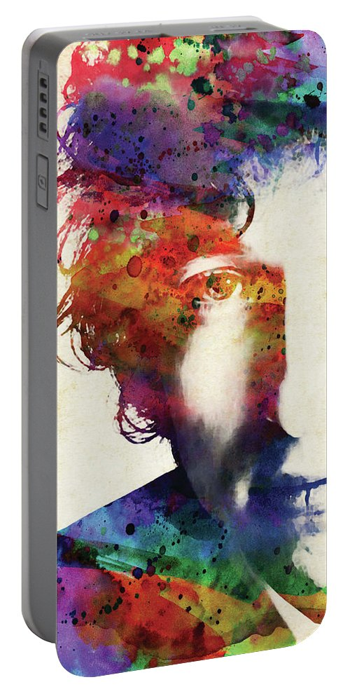 Bob Dylan Portable Battery Charger featuring the digital art Bob Dylan colorful watercolor by Mihaela Pater