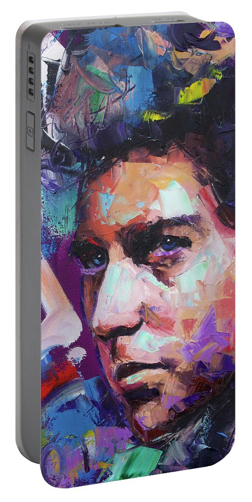 Bob Dylan Portable Battery Charger featuring the painting Bob Dylan IV by Richard Day