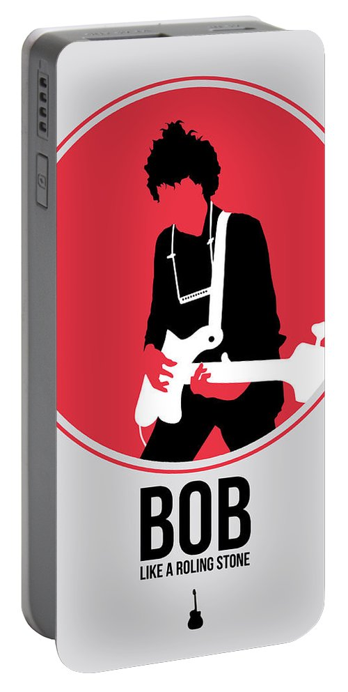 Bob Dylan Portable Battery Charger featuring the digital art Bob Dylan by Naxart Studio