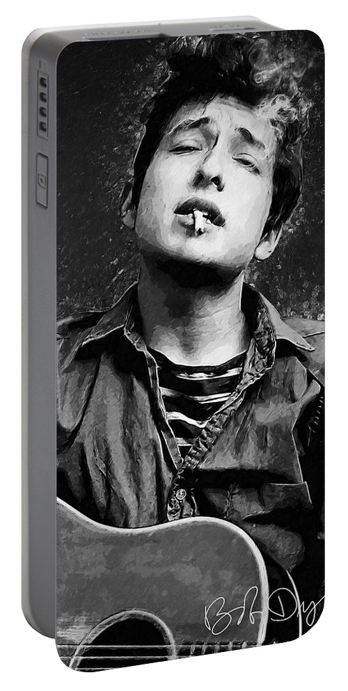 Bob Dylan Portable Battery Charger featuring the digital art Bob Dylan by Zapista OU