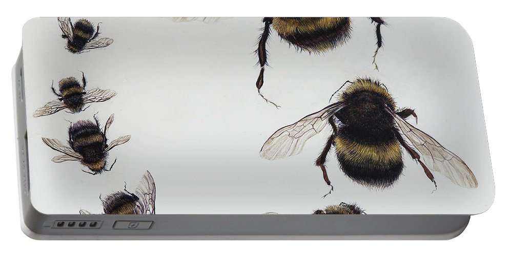 Nature Portable Battery Charger featuring the painting Bombus by Odile Kidd