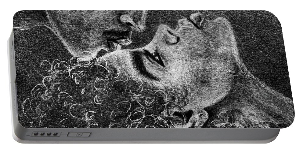 Marriage Portable Battery Charger featuring the drawing Bone of my Bone by Artist RiA