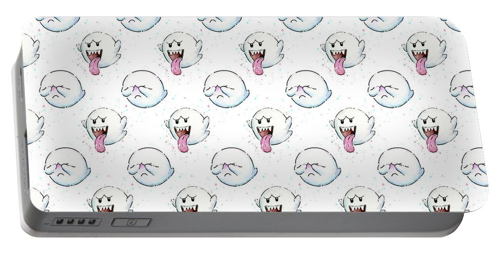 Ghosts Portable Battery Charger featuring the painting Boo Ghost Pattern by Olga Shvartsur
