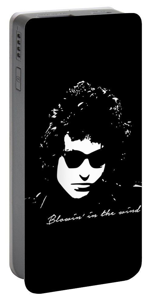 Bob Dylan Portable Battery Charger featuring the digital art Bowin' In The Wind by Filip Schpindel