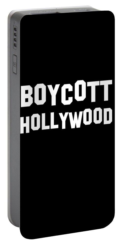Cool Portable Battery Charger featuring the digital art Boycott Hollywood by Flippin Sweet Gear