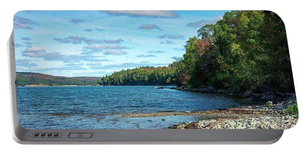 Autumn Portable Battery Charger featuring the digital art Bras D'or Lake, Cape Breton Nova Scotia, Canada by Ken Morris