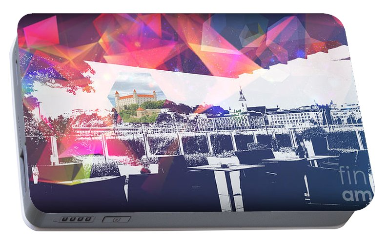City Art Portable Battery Charger featuring the digital art Bratislava by Ron Labryzz