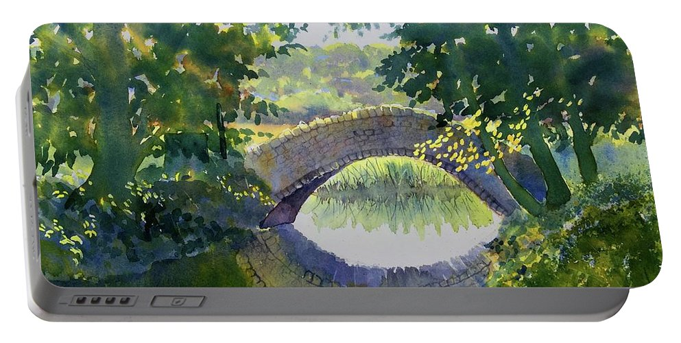 Watercolour Portable Battery Charger featuring the painting Bridge Over Gypsy Race by Glenn Marshall